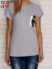 T-shirt ze srebrną aplikacją i gwiazdą szary
