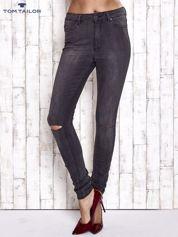 TOM TAILOR Ciemnoszare spodnie jeansowe z rozcięciami na kolanach