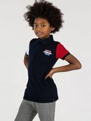 TOMMY LIFE Granatowa bawełniana koszulka polo dla chłopca