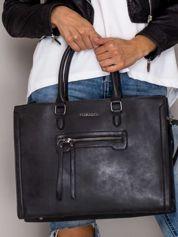 Torba shopper bag z ozdobną kieszenią czarna