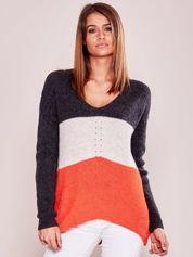 Trójkolorowy sweter w serek