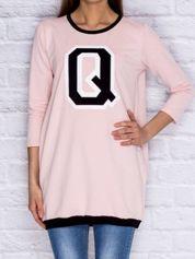 Tunika dresowa z naszywką litery Q i ściągaczami jasnoróżowa