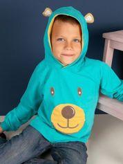 Turkusowa bluza dla z kapturem dla chłopca
