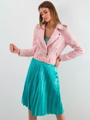 Turkusowa plisowana spódnica midi