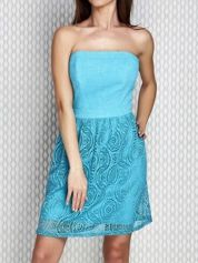 Turkusowa sukienka koktajlowa z ażurowym dołem