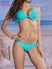 Turkusowy usztywniany stanik od bikini wiązany na szyi