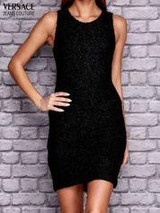 VERSACE Czarna sukienka z ozdobnym suwakiem z tyłu
