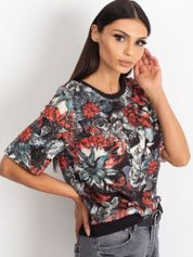 VIA DELLE ROSE Czarna bluzka z kwiatami