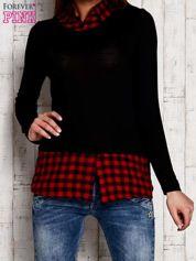 Warstwowy sweter z koszulą w kratę czarny
