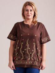 Wzorzysta bluzka koszulowa oversize brązowa