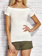 YUPS T-shirt damski w prążki z wiązaniem ecru