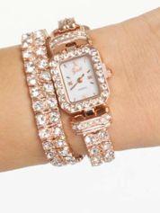 Zegarek damski na podwójnej bransolecie z cyrkoniami z różowego złota