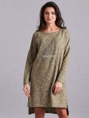 Zielona asymetryczna sukienka z aplikacją