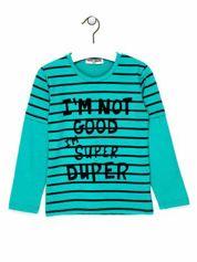 Zielona bluzka chłopięca z napisem I'M NOT GOOD I'M SUPER DRUPER