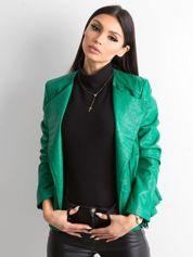 Zielona kurtka ze skóry ekologicznej