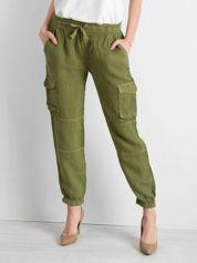 Zielone lniane spodnie cargo