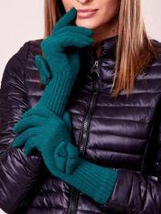 Zielone rękawiczki z kokardką i długim ściągaczem