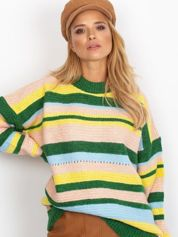 Zielony sweter oversize w kolorowe paski