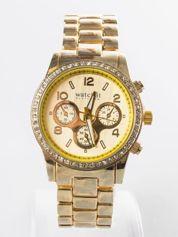 Złoty zegarek damski na bransolecie z cyrkoniami