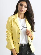 Żółta kurtka damska ze skóry ekologicznej
