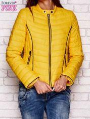 Żółta kurtka przejściowa z ciemną lamówką