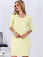 Żółta sukienka z kieszenią