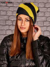 Żółto-czarna czapka w geometryczne wzory Funk n Soul