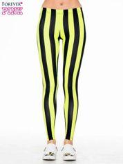 Żółto-czarne wyszczuplające legginsy w pionowe paski