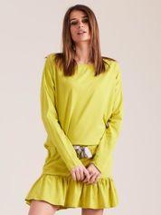 Żółto-zielona sukienka oversize z falbaną