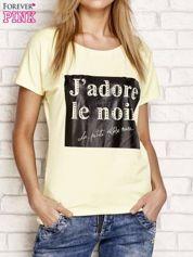 Żółty t-shirt z napisem J'ADORE LE NOIR