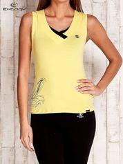 Żółty top sportowy z nadrukiem