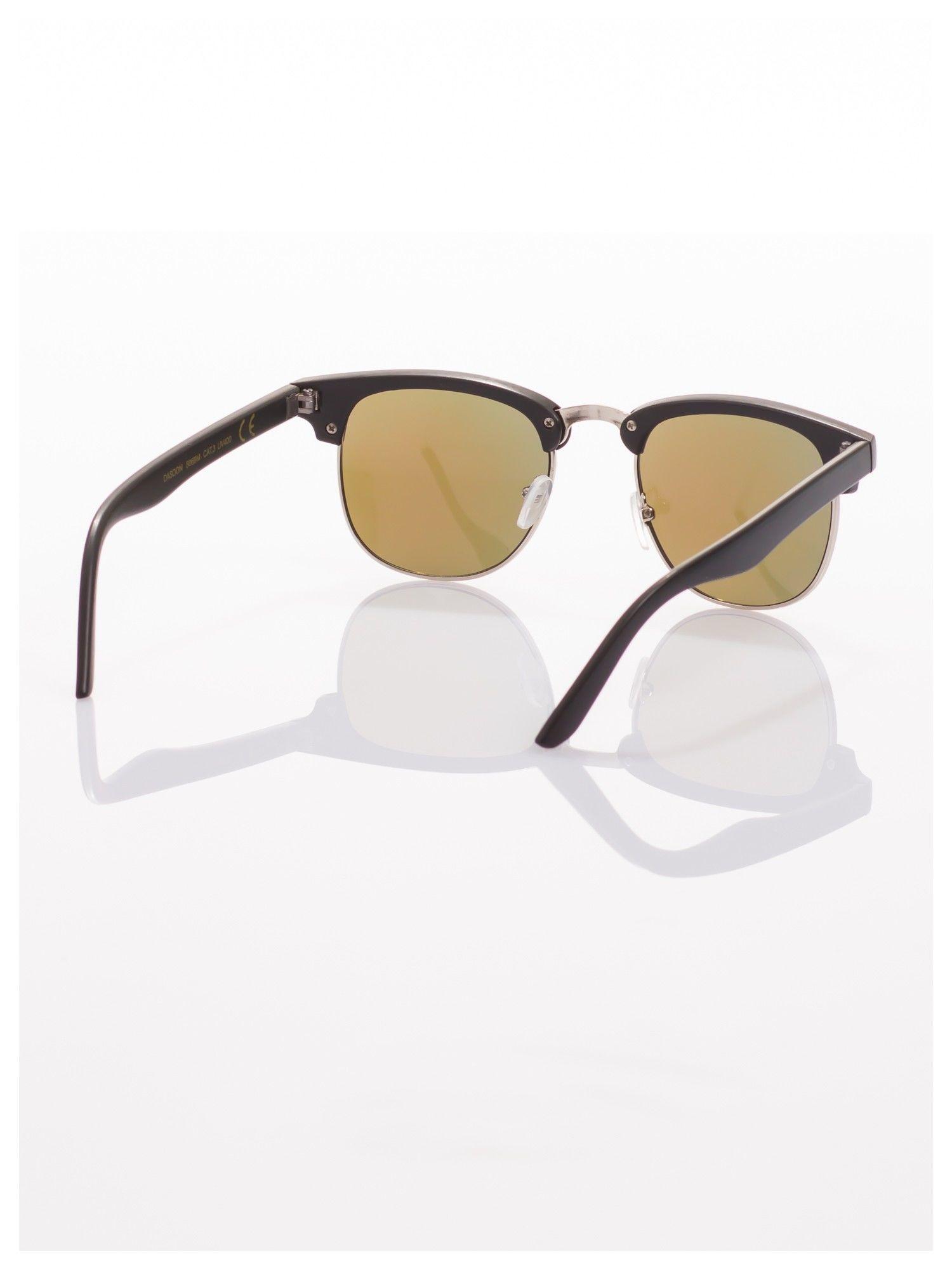 Czarne okulary przeciwsłoneczne lustrzanki typu CLUBMASTER                                   zdj.                                  3