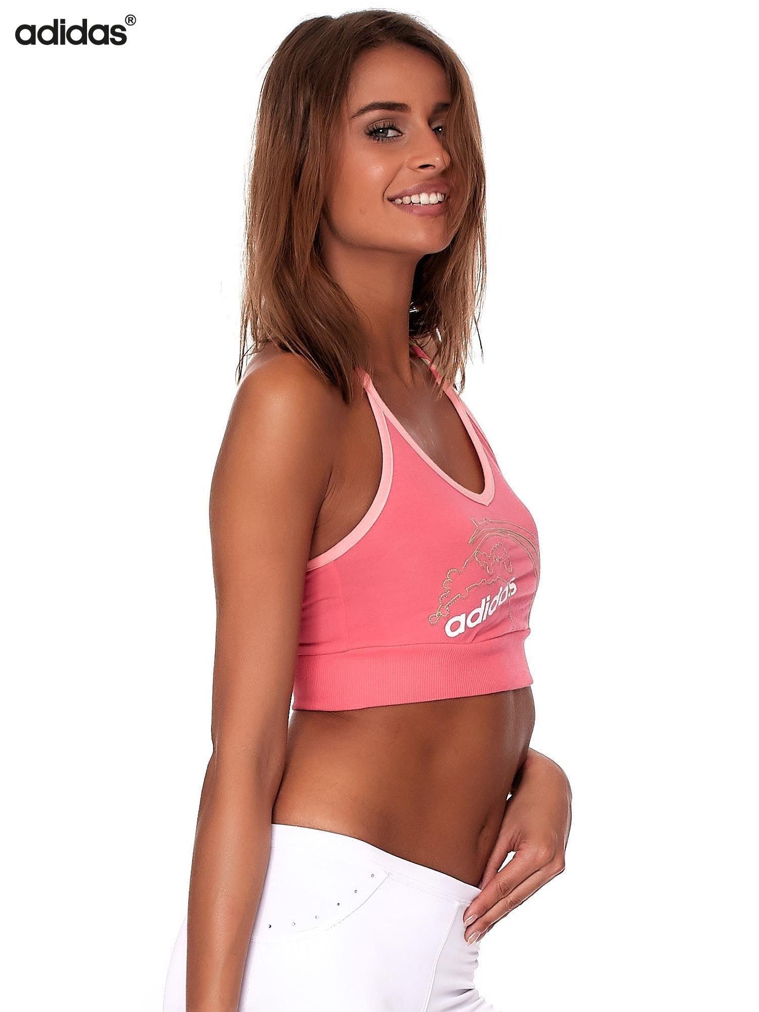ADIDAS Różowy krótki top z haftem i napisem