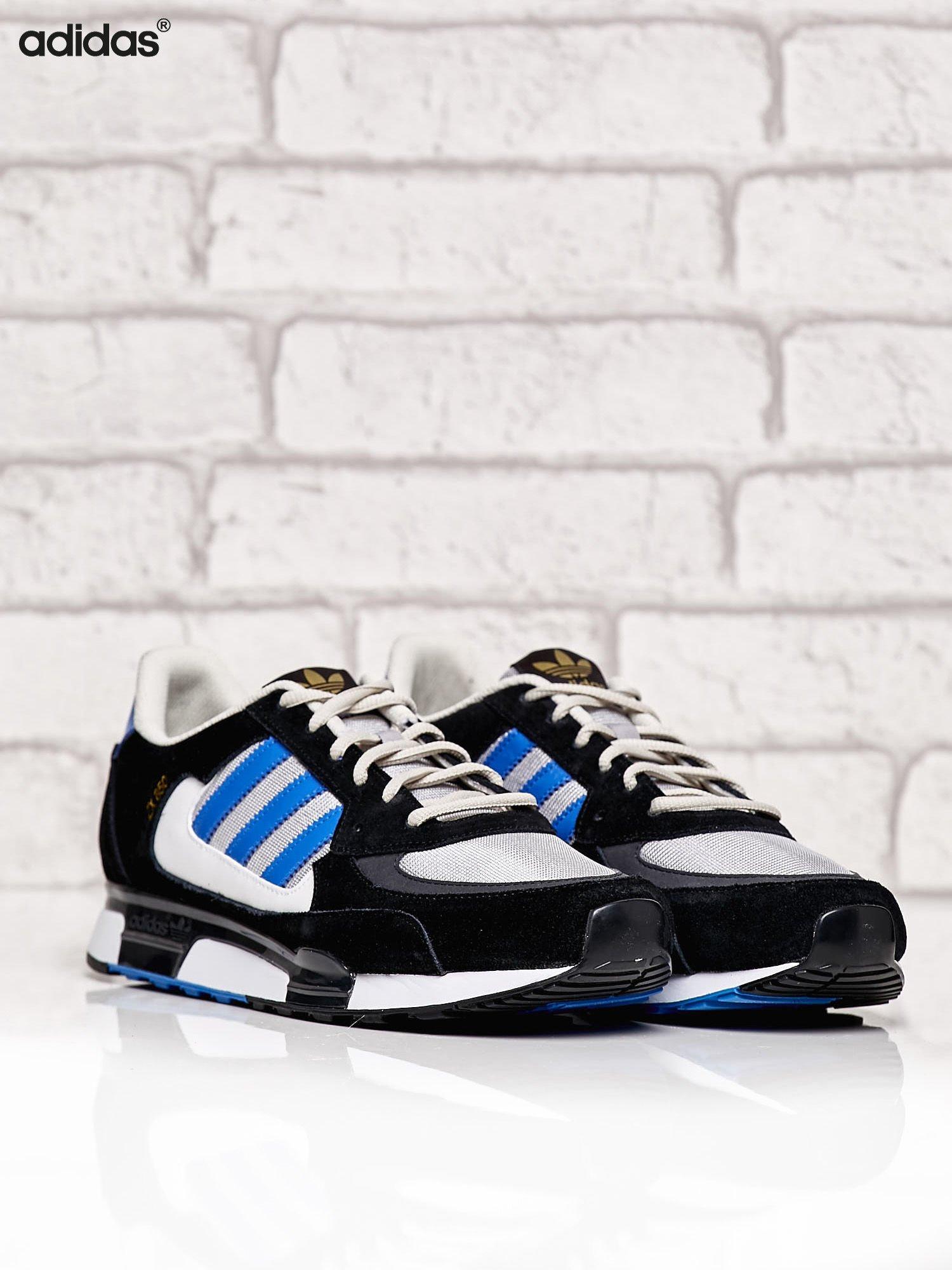 ADIDAS czarne buty męskie ZX 850 z niebieskimi modułami