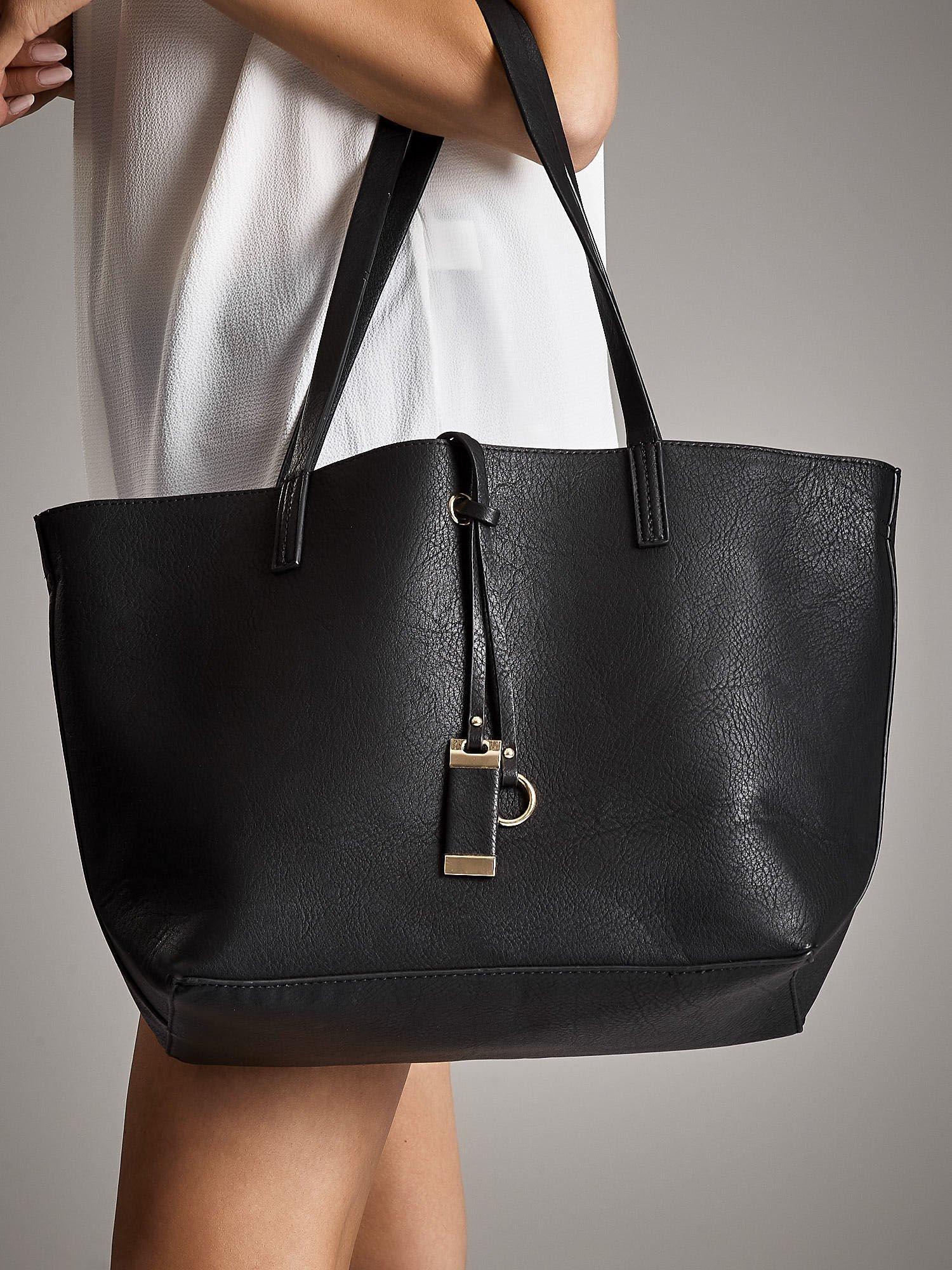 f8fa4a61b3346 ANNA FIELD Czarna torba shopper bag - Akcesoria torba - sklep eButik.pl