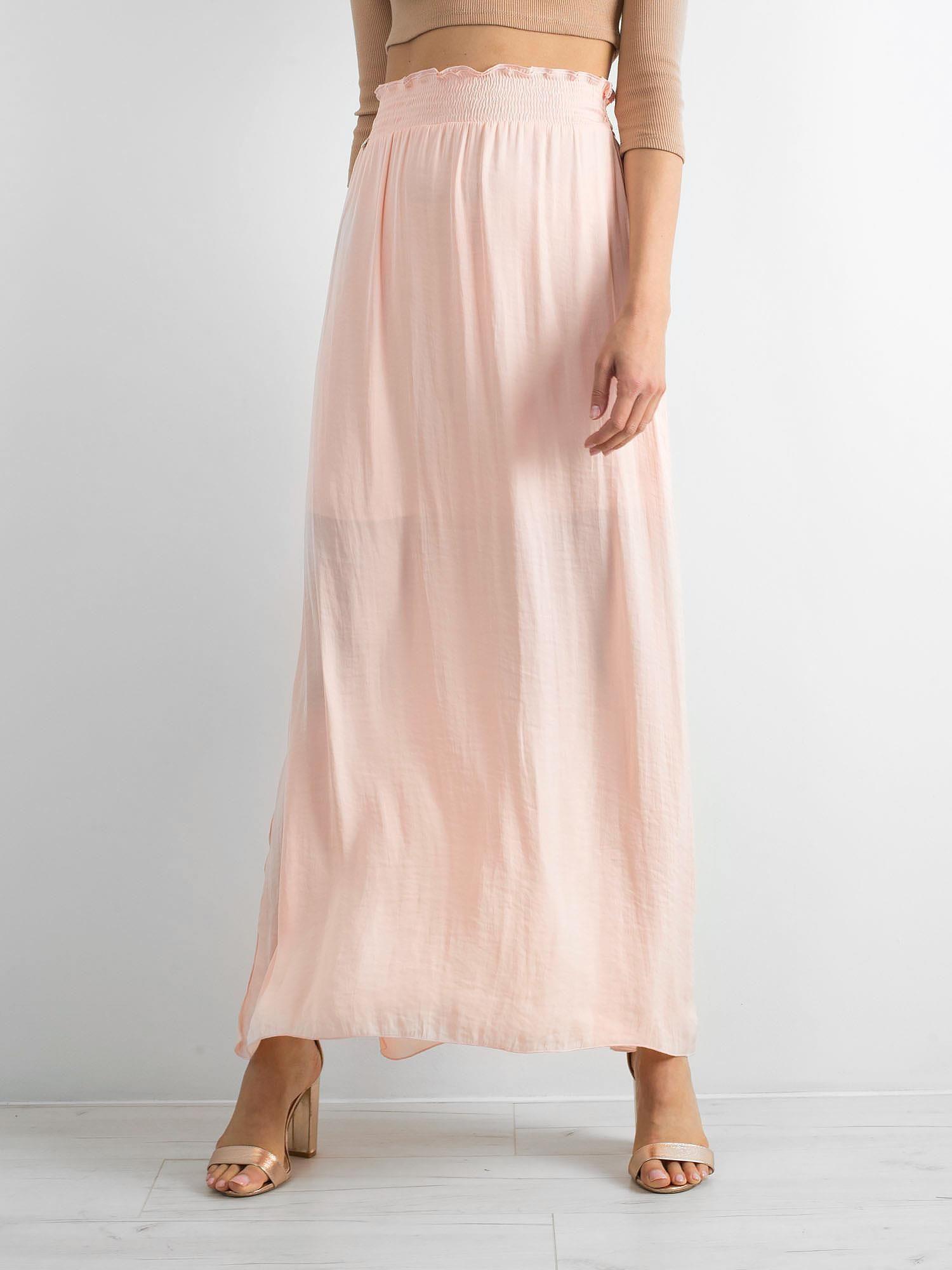 79d79d797c BY O LA LA Brzoskwiniowa długa spódnica - Spódnica rozkloszowana ...