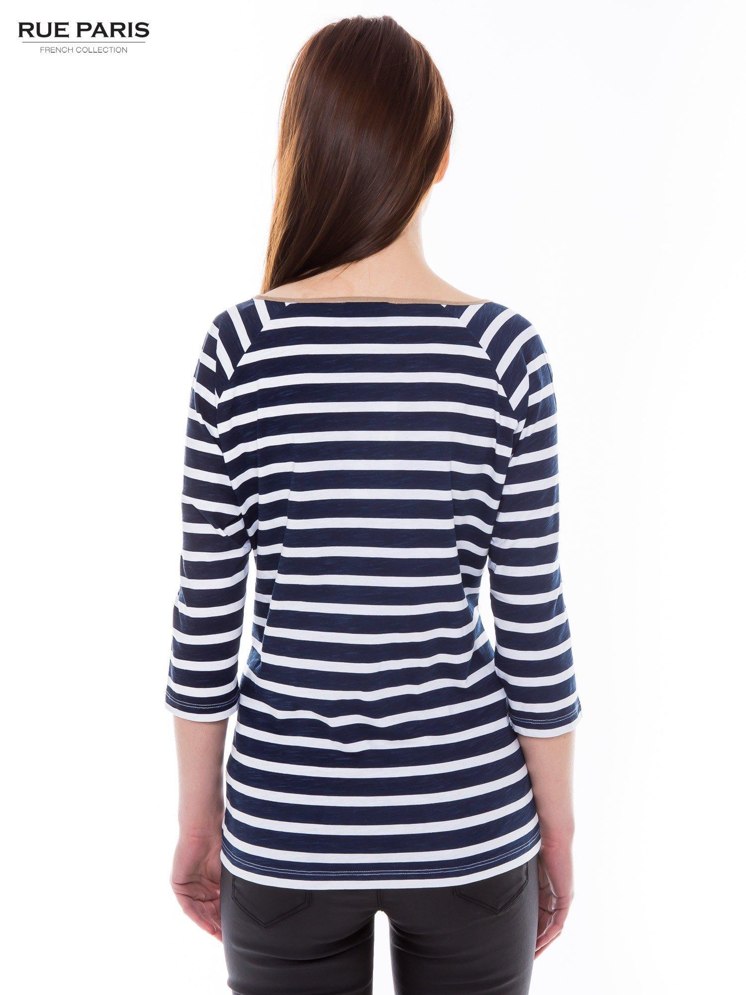 Bawełniana bluzka w biało-granatowe paski w stylu marynistycznym                                  zdj.                                  3