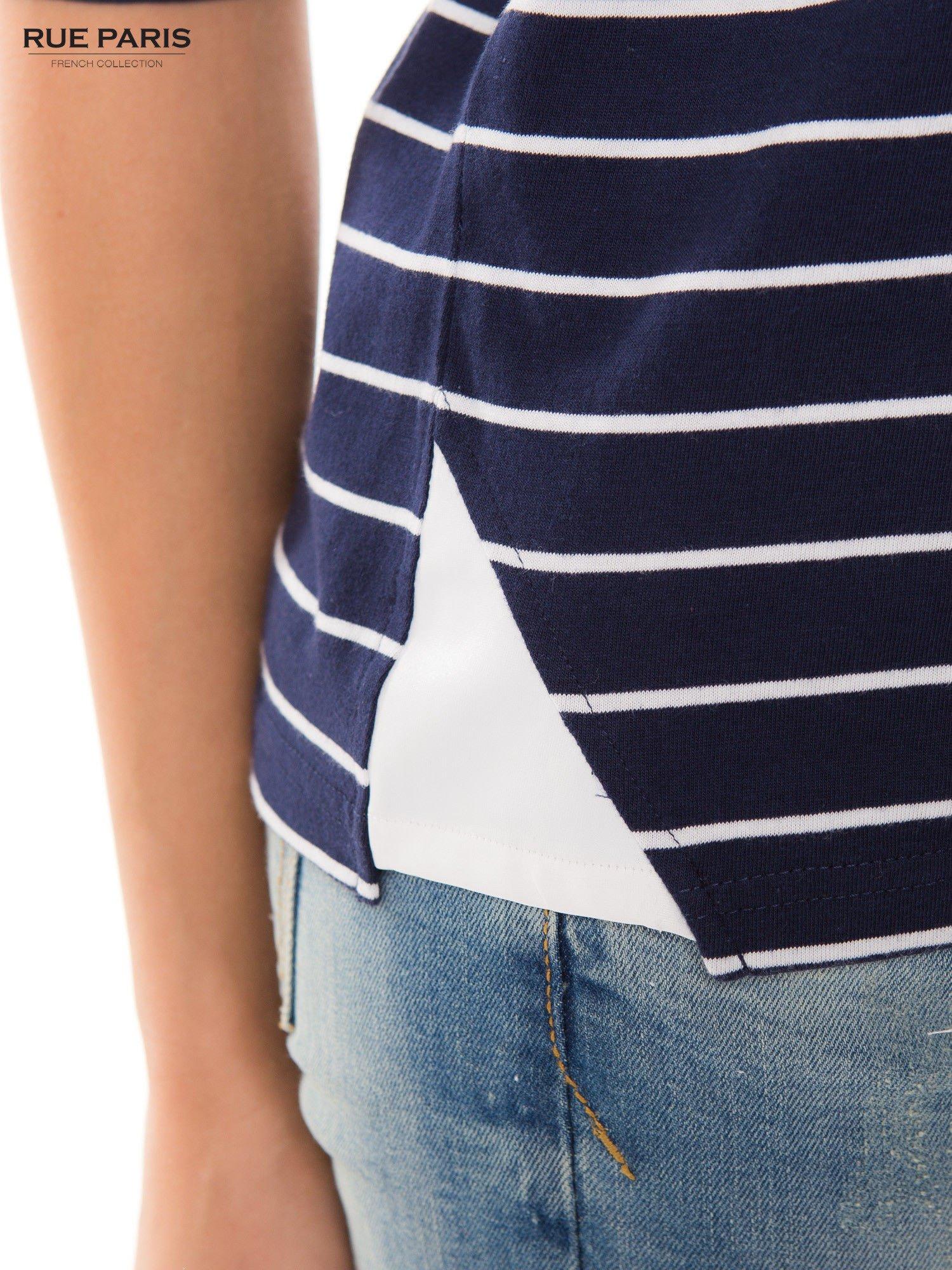 Bawełniana bluzka w granatowo-białe paski z rękawem 3/4                                  zdj.                                  3
