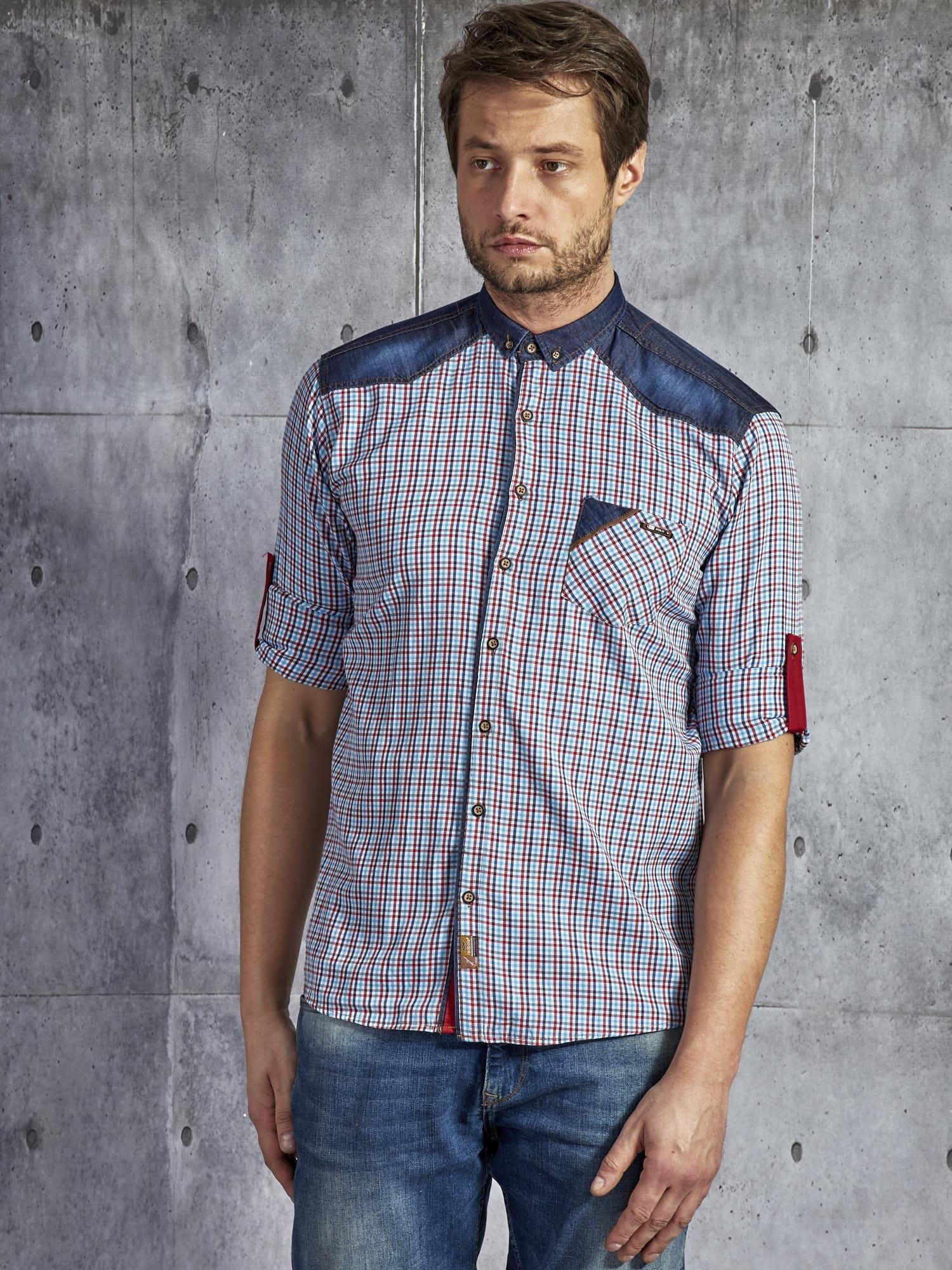 d7d02f79845e1b 4; Bawełniana koszula męska w kratkę czerwono-niebieska PLUS SIZE ...