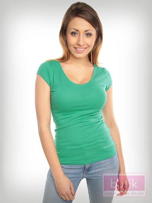 Bawełniana zielona bluzka na krótki rękaw FOR FITNESS                                  zdj.                                  4