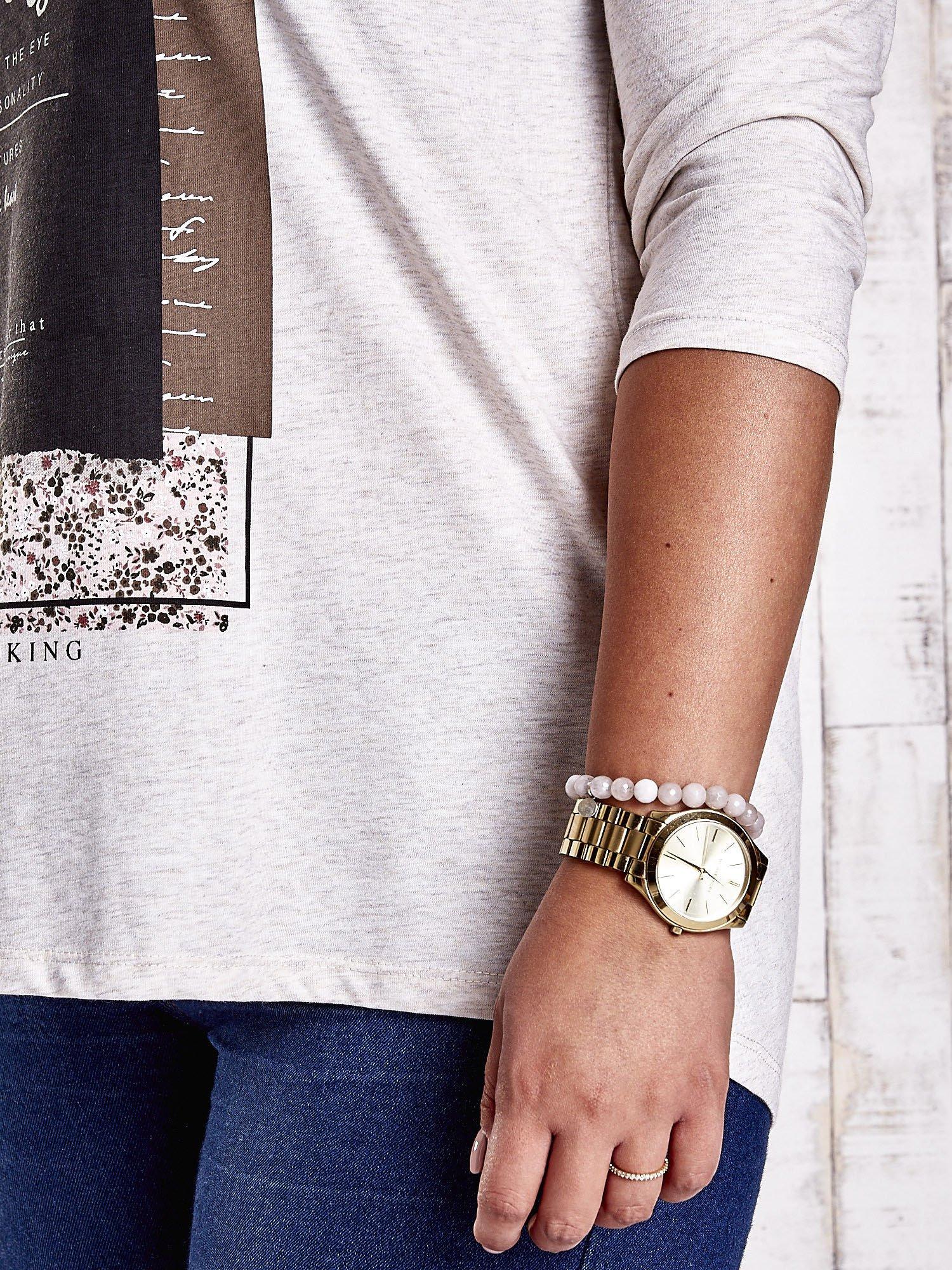 Beżowa bluzka z napisem BEAUTY PLUS SIZE                                  zdj.                                  6