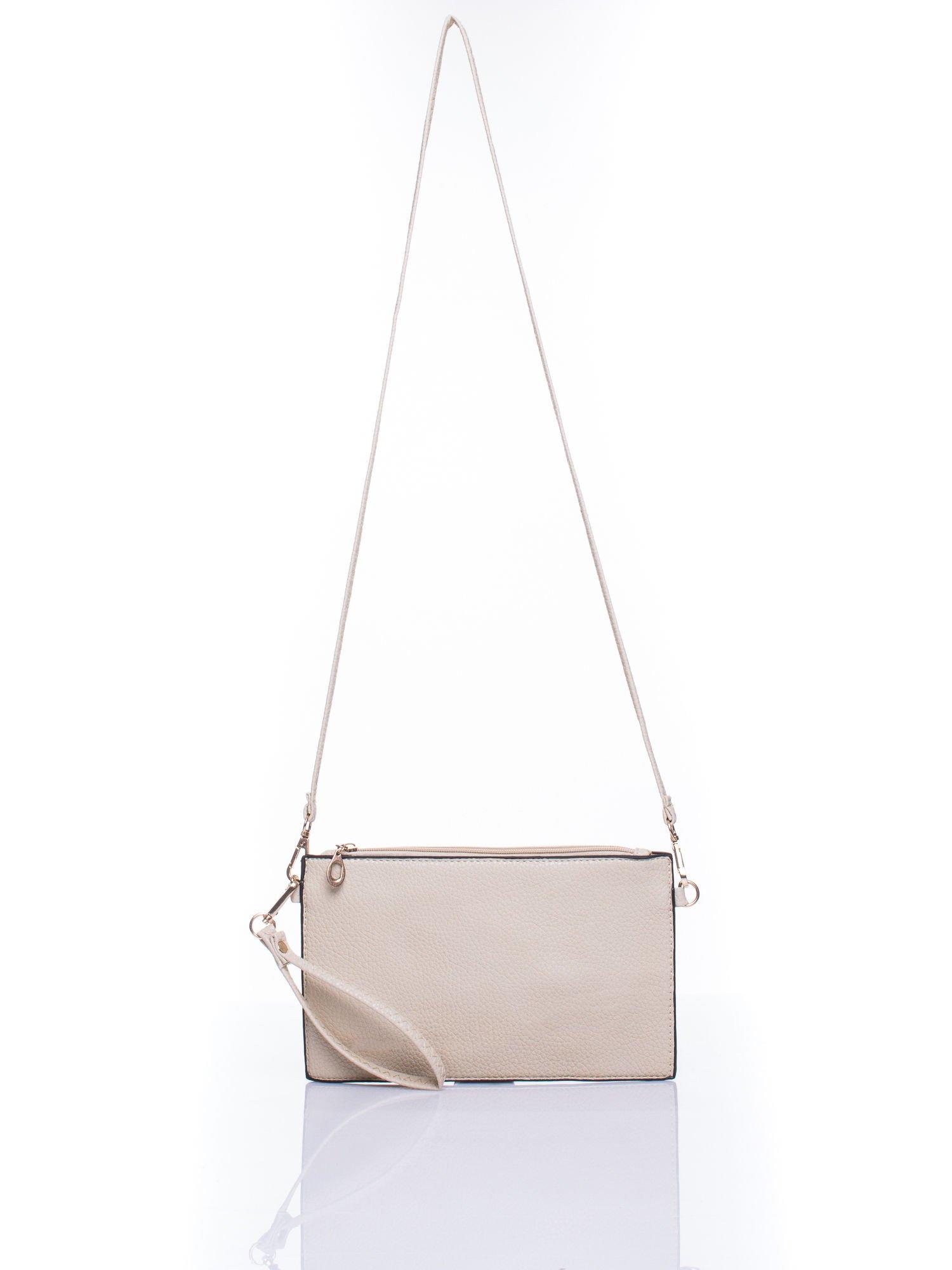 Beżowa prosta przewieszana torebka z uchwytem                                  zdj.                                  4