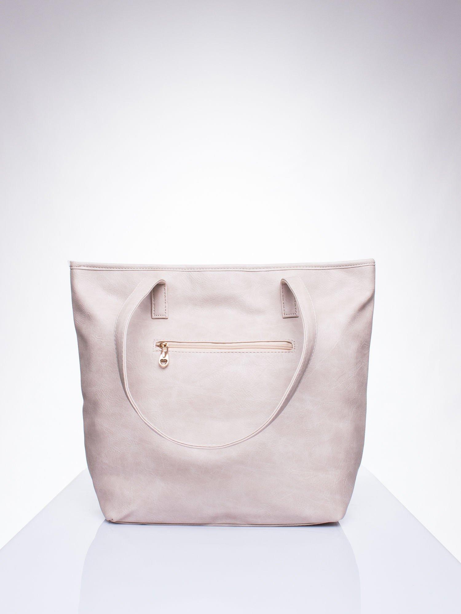 Beżowa prosta torba shopper bag ze złotymi okuciami                                  zdj.                                  3