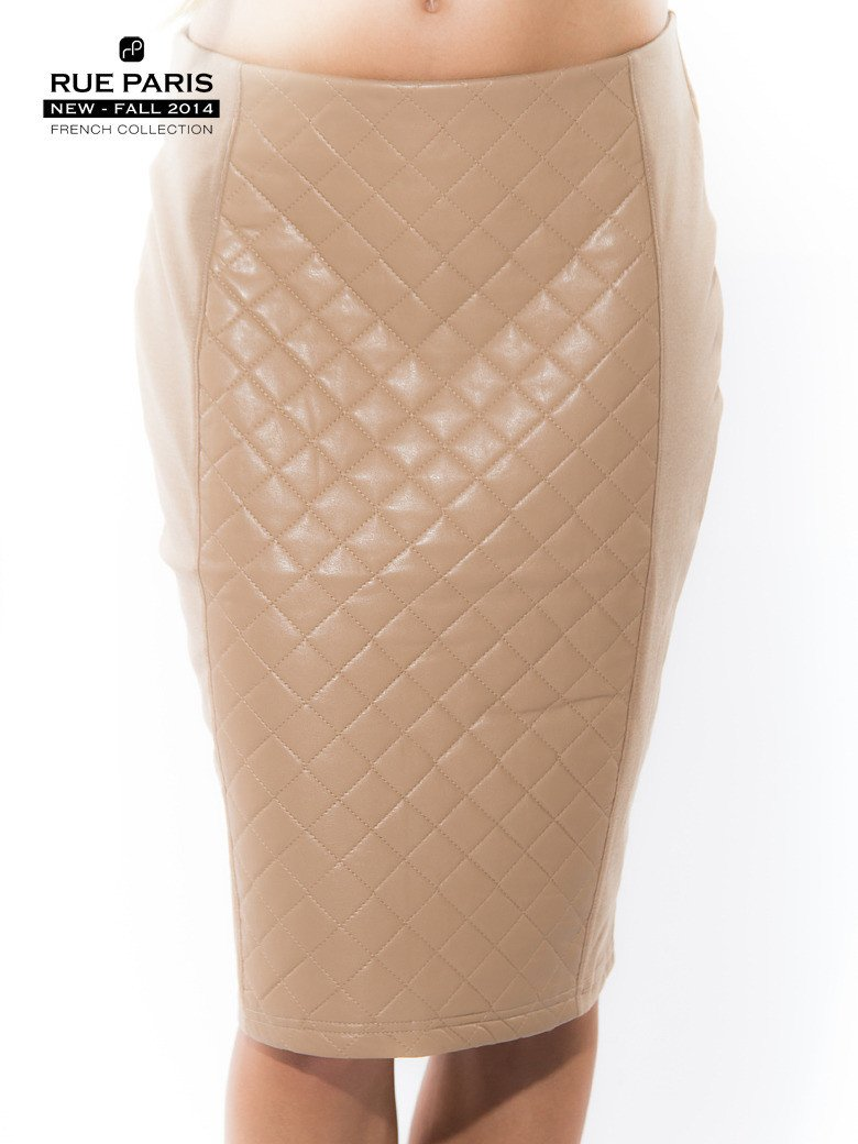 Beżowa spódnica ołówkowa ze wstawką z pikowanej skóry                                  zdj.                                  2