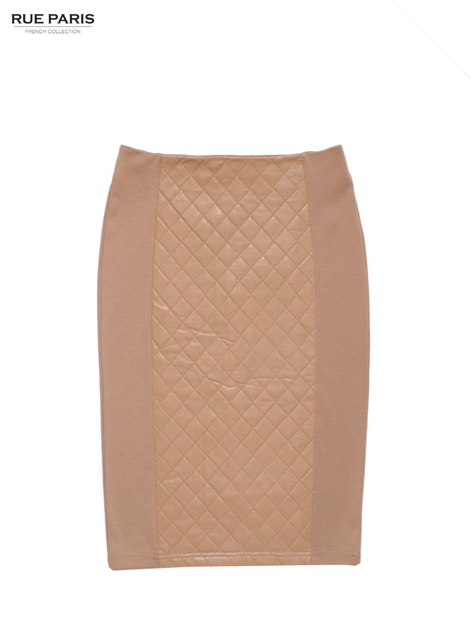 Beżowa spódnica ołówkowa ze wstawką z pikowanej skóry                                  zdj.                                  1