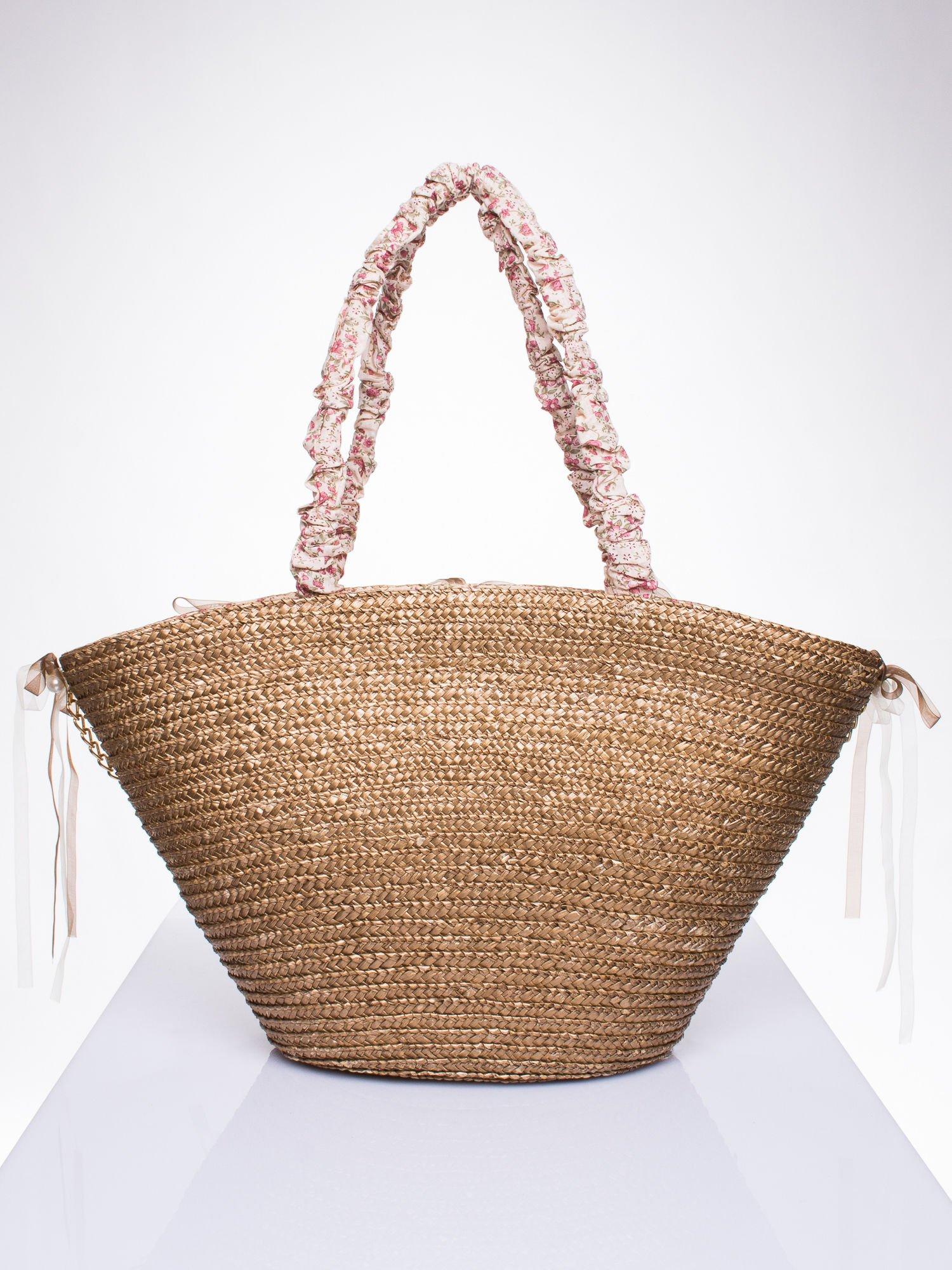 Beżowa torba koszyk plażowy w stylu romantic                                  zdj.                                  3