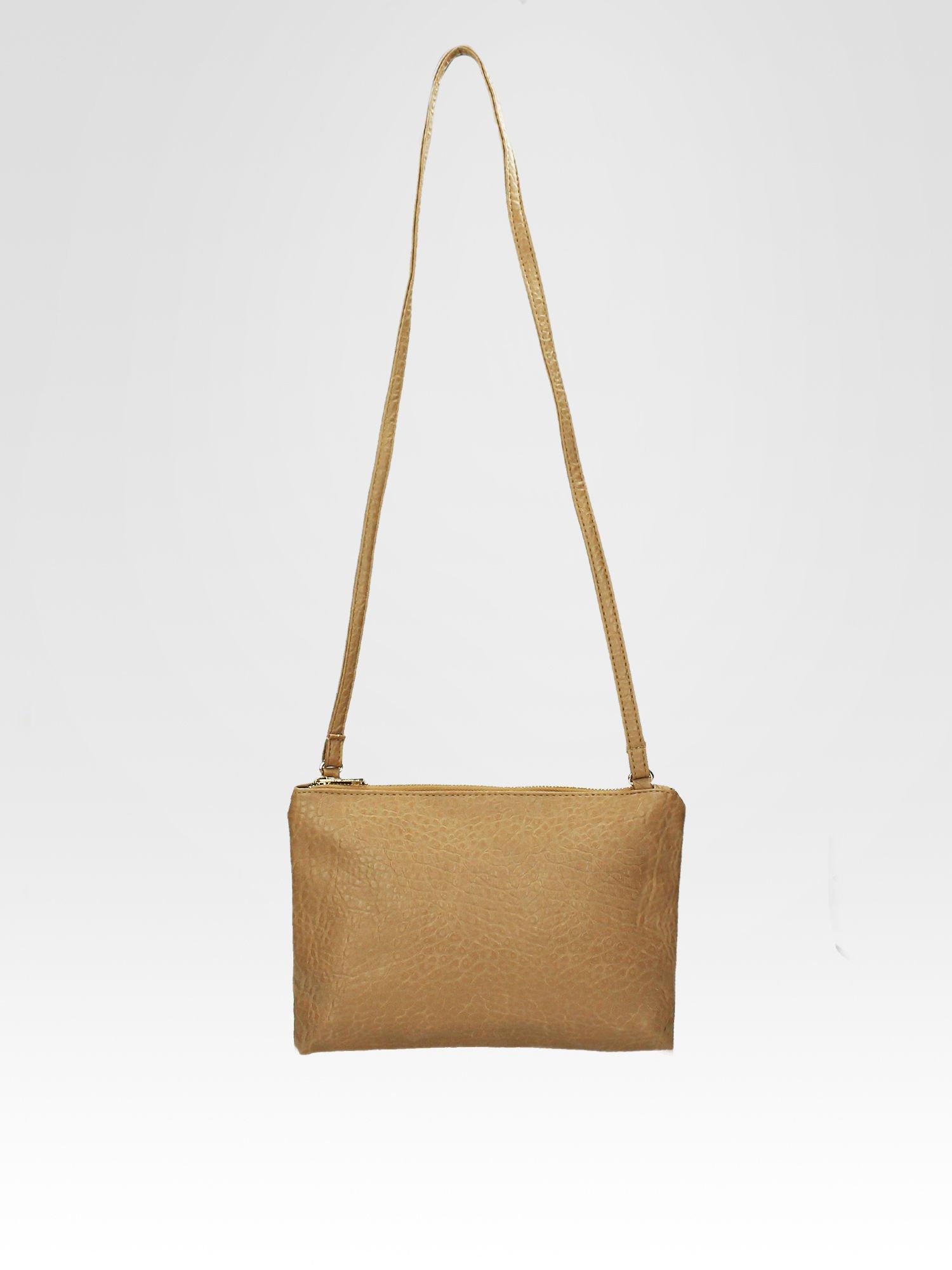 Beżowa torebka dwukomorowa z paskiem                                  zdj.                                  4