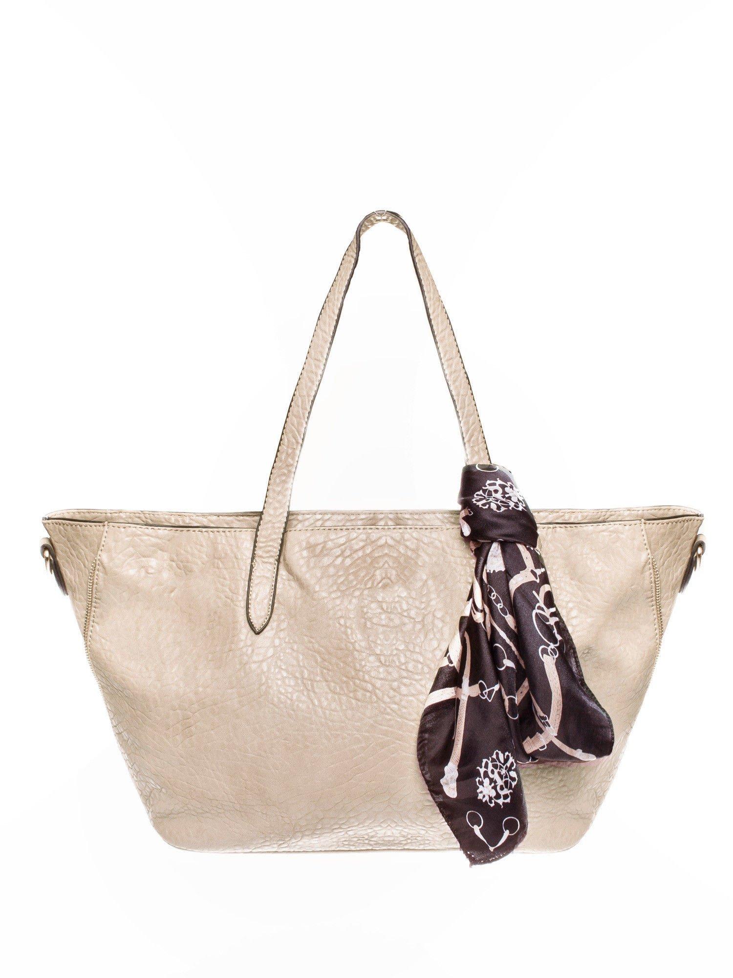 Beżowa torebka shopper bag z apaszką                                  zdj.                                  1