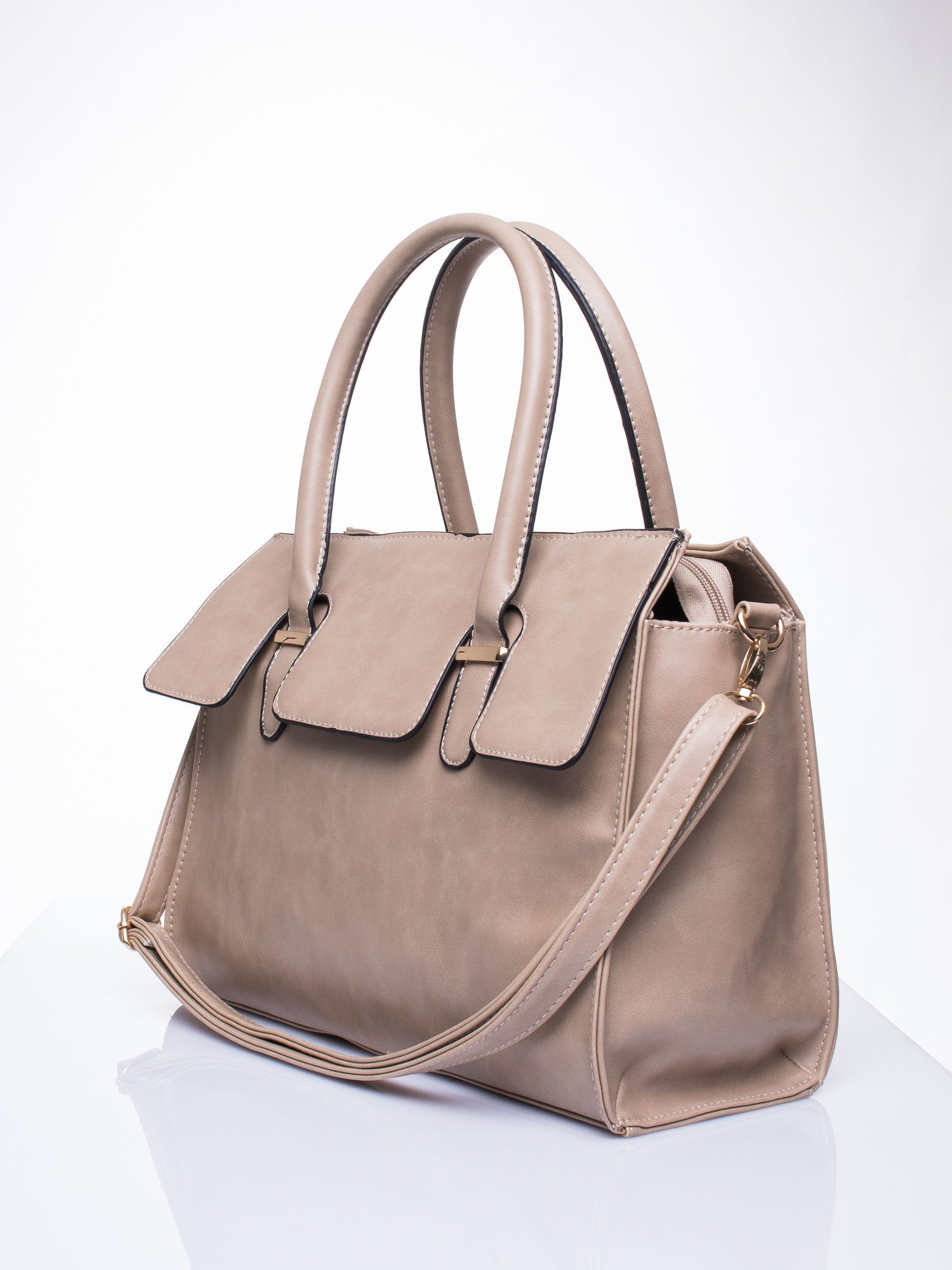 Beżowa torebka teczka z klapką                                  zdj.                                  3