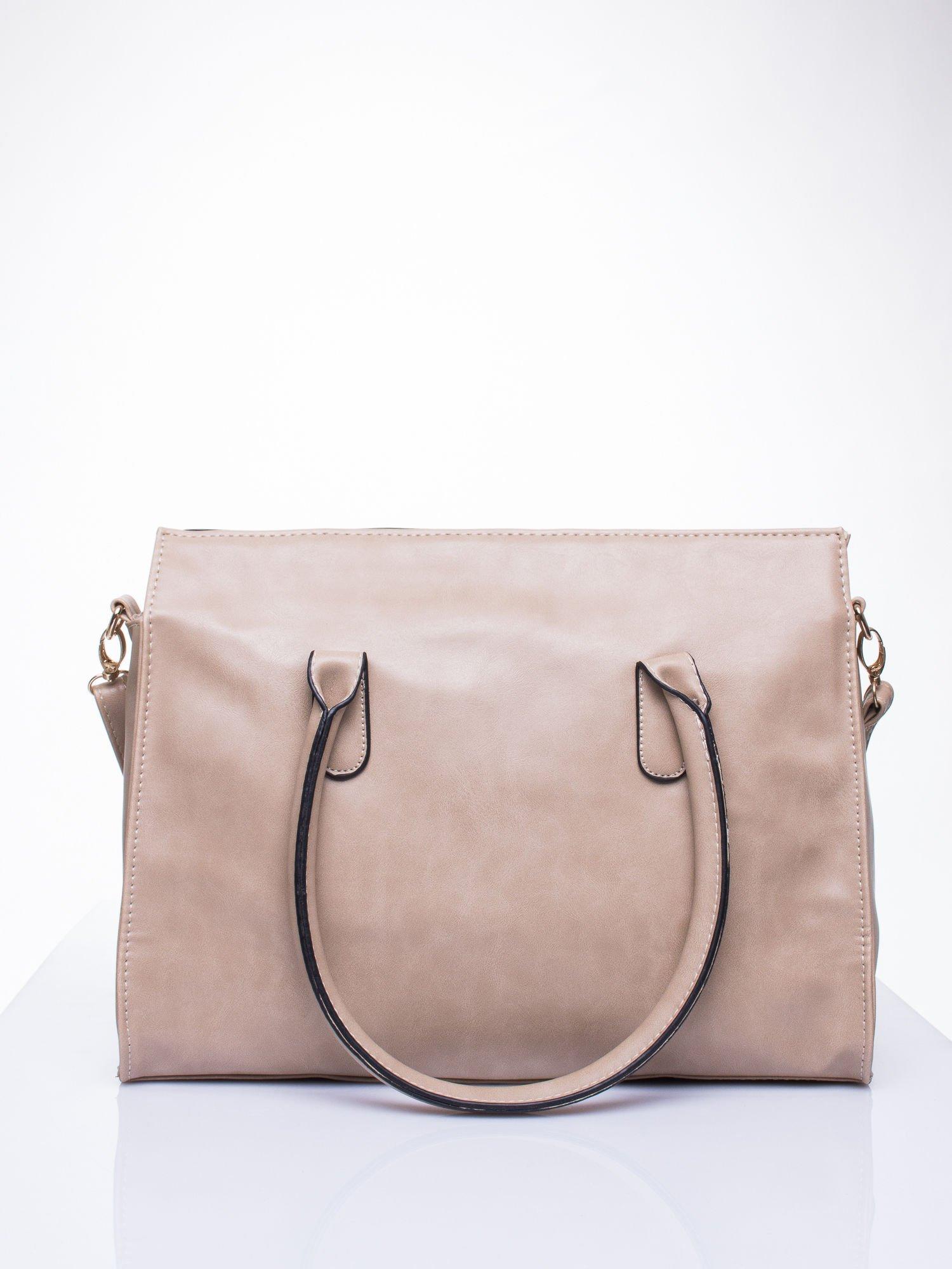 Beżowa torebka teczka z klapką                                  zdj.                                  4